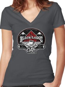 Black Lodge Coffee Company (distressed) Women's Fitted V-Neck T-Shirt