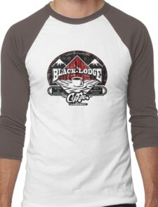 Black Lodge Coffee Company (distressed) Men's Baseball ¾ T-Shirt