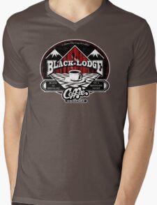 Black Lodge Coffee Company (distressed) Mens V-Neck T-Shirt