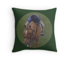 Young Girl and Pony Painting Throw Pillow