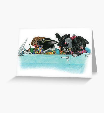 Newfies on a Road Trip Greeting Card