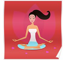 Yoga girl in lotus position isolated on red Poster