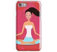 Yoga girl in lotus position isolated on red iPhone Case/Skin