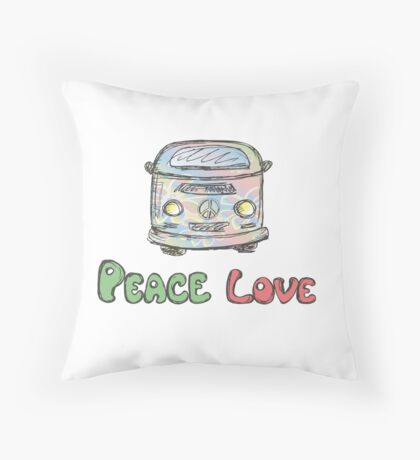 Hand drawn hippie van Throw Pillow