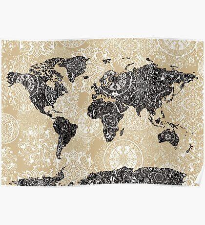 world map mandala 3 Poster