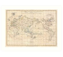 Vintage Map of The World (1799) Art Print