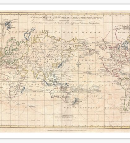 Vintage Map of The World (1799) Sticker