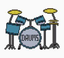 Drums - Pixels Kids Tee