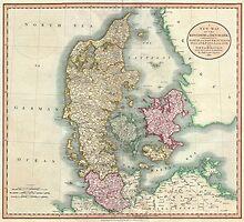 Vintage Map of Denmark (1801) by BravuraMedia