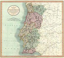 Vintage Map of Portugal (1801)  by BravuraMedia