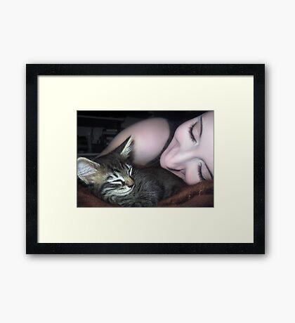 Kitten Snuggles - Self Portrait w/Mikino Framed Print