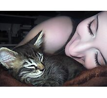 Kitten Snuggles - Self Portrait w/Mikino Photographic Print