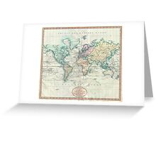 Vintage Map of The World (1801) Greeting Card