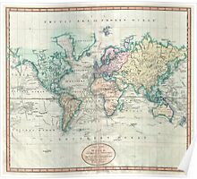 Vintage Map of The World (1801) Poster