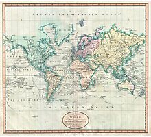 Vintage Map of The World (1801) Photographic Print