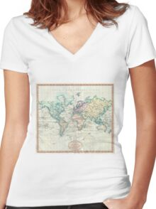 Vintage Map of The World (1801) Women's Fitted V-Neck T-Shirt