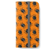 Spooky Spiders - Orange Background iPhone Wallet/Case/Skin