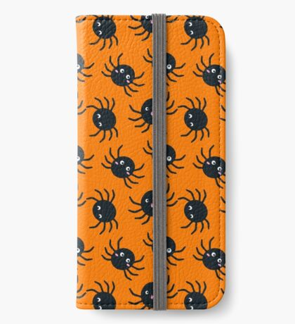 Spooky Spiders - Orange Background iPhone Wallet/Case/Skin