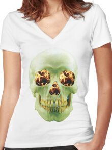 Skull with eyes of fire Women's Fitted V-Neck T-Shirt