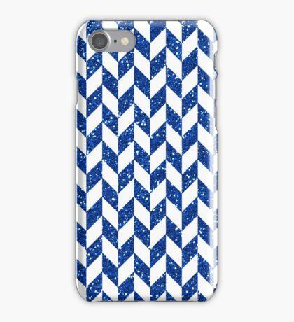Blue Glitter Herringbone Pattern iPhone Case/Skin
