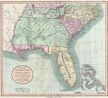 Vintage Map of The Southeastern U.S. (1806) by BravuraMedia