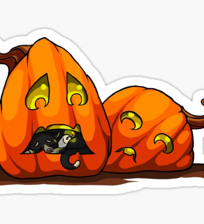 Lost Cat and Concerned Jack-o-Lanterns Sticker