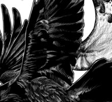Raven in Flight, Crescent Moon Sticker