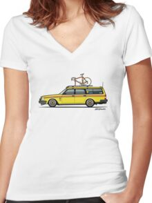 Yellow Volvo 245 Wagon With Roof Rack and Vintage Bicycle Women's Fitted V-Neck T-Shirt