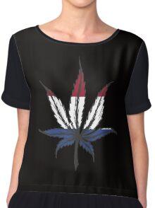 Cannabis (marijuana) leaf ,hand drawn Chiffon Top