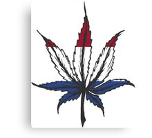 Cannabis (marijuana) leaf ,hand drawn Canvas Print