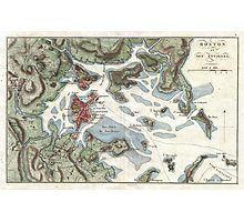 Vintage Map of Boston Harbor (1807) Photographic Print