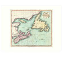 Vintage Map of Nova Scotia and Newfoundland (1807) Art Print