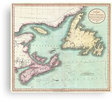Vintage Map of Nova Scotia and Newfoundland (1807) Canvas Print