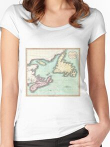Vintage Map of Nova Scotia and Newfoundland (1807) Women's Fitted Scoop T-Shirt