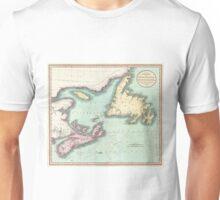 Vintage Map of Nova Scotia and Newfoundland (1807) Unisex T-Shirt