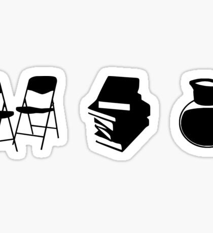 Makes a Meeting (Chairs, Literature, and Coffee) Sticker