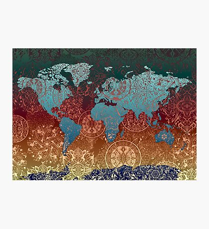 world map mandala 4 Photographic Print