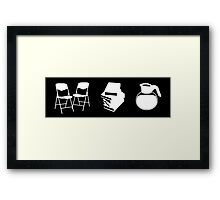 Makes a Meeting (Chairs, Literature, and Coffee) Framed Print
