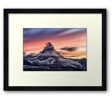 Mountain and a Sunset Framed Print