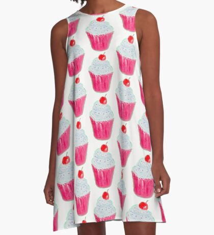 Cupcake with frosting and cherry A-Line Dress