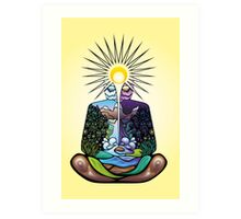 Psychedelic meditating Nature-man Art Print