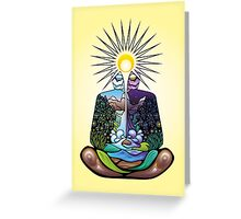 Psychedelic meditating Nature-man Greeting Card