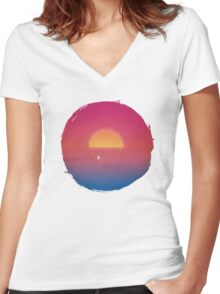Sailboat in Sunset Women's Fitted V-Neck T-Shirt