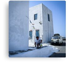 Coloring Mykonos white Canvas Print