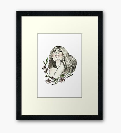 Floral Ink Framed Print