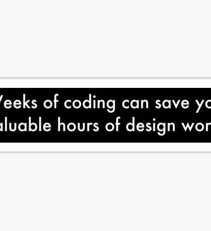 Weeks of Coding (white on black) Sticker