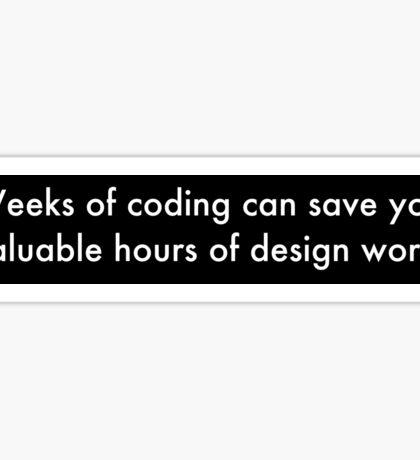 Weeks of Coding (white on black) Sticker