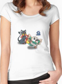Litten Popplio and Rowlet Women's Fitted Scoop T-Shirt