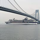 Cruise Ship Approaches the Verrazano Bridge, New York City by lenspiro