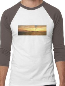 Golden Dusk Sunset.  Photo Art, Prints, Gifts. Men's Baseball ¾ T-Shirt